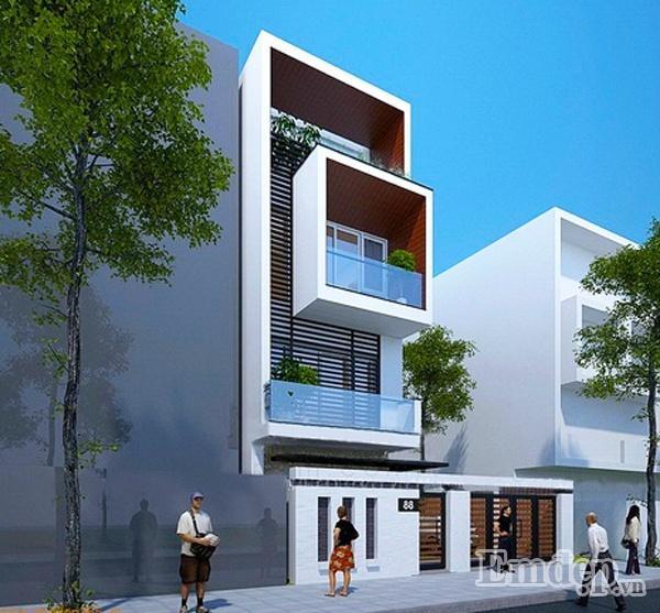 Mặt tiền ngôi nhà được kiểu mẫu kết hợp và tinh tế.