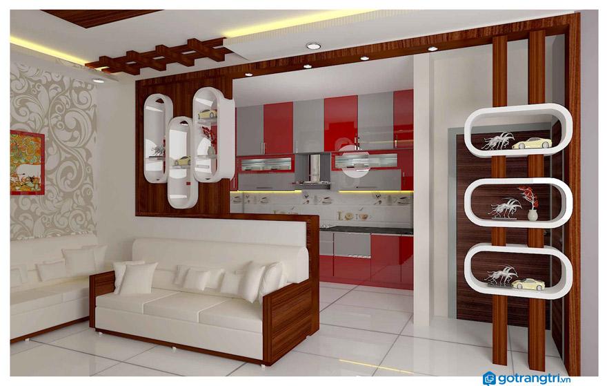 vách ngăn phòng khách và bếp mẫu 9