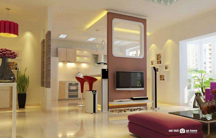 vách ngăn phòng khách và bếp mẫu